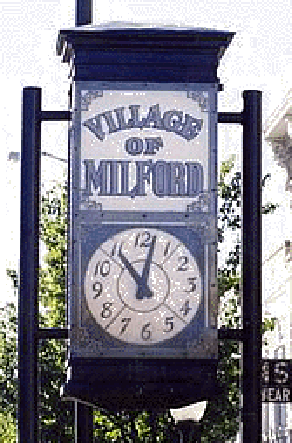 picture of the downtown Milford Michigan clock